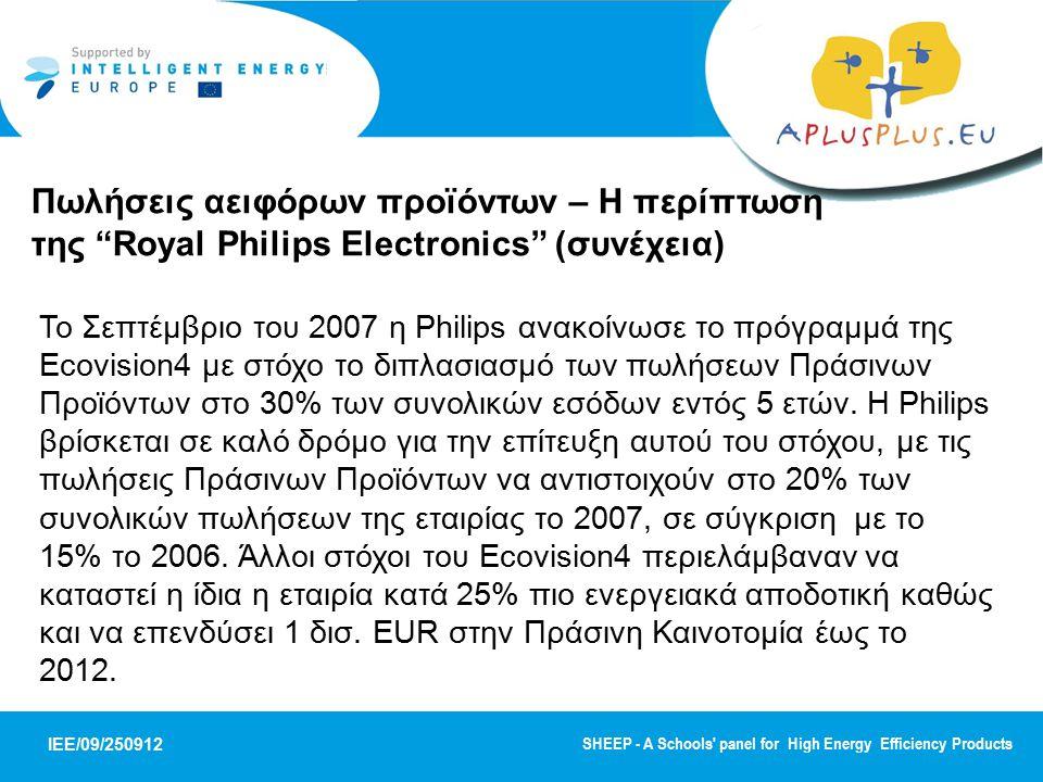 Πωλήσεις αειφόρων προϊόντων – Η περίπτωση της Royal Philips Electronics (συνέχεια)