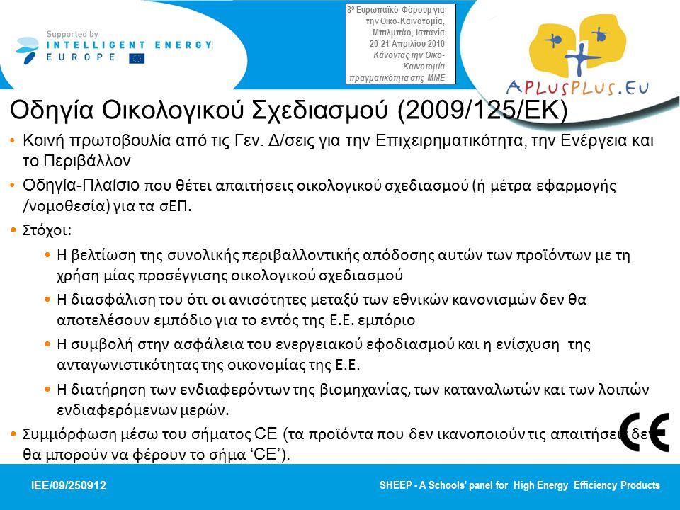 Οδηγία Οικολογικού Σχεδιασμού (2009/125/EΚ)