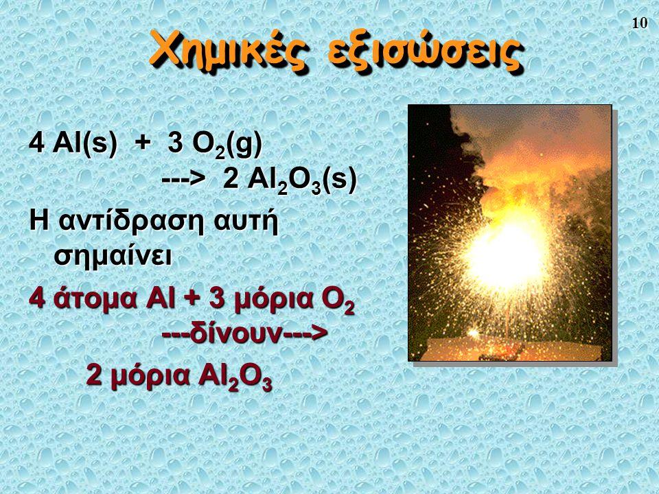Χημικές εξισώσεις 4 Al(s) + 3 O2(g) ---> 2 Al2O3(s)