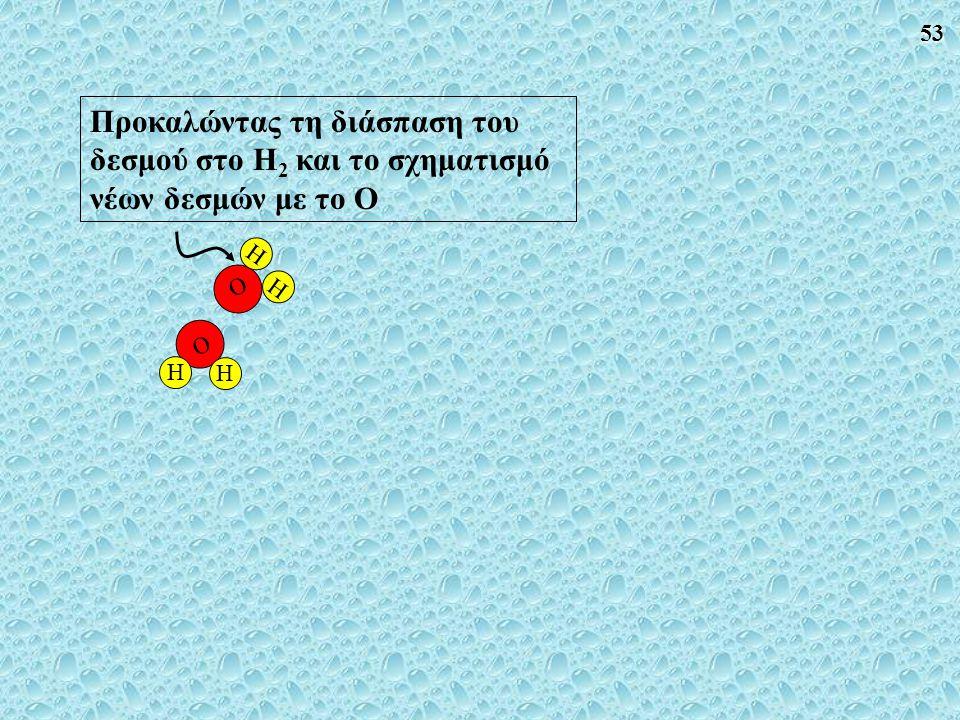 Προκαλώντας τη διάσπαση του δεσμού στο H2 και το σχηματισμό νέων δεσμών με το Ο