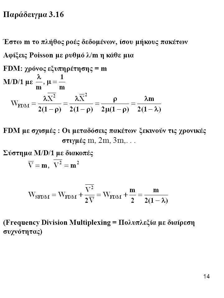 Παράδειγμα 3.16 Έστω m το πλήθος ροές δεδομένων, ίσου μήκους πακέτων