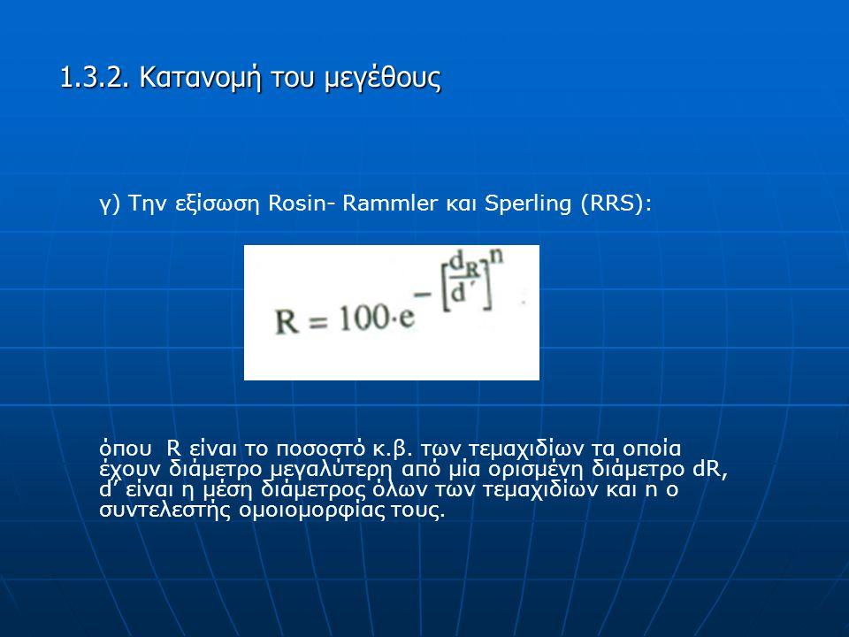 1.3.2. Κατανομή του μεγέθους γ) Την εξίσωση Rosin- Rammler και Sperling (RRS):