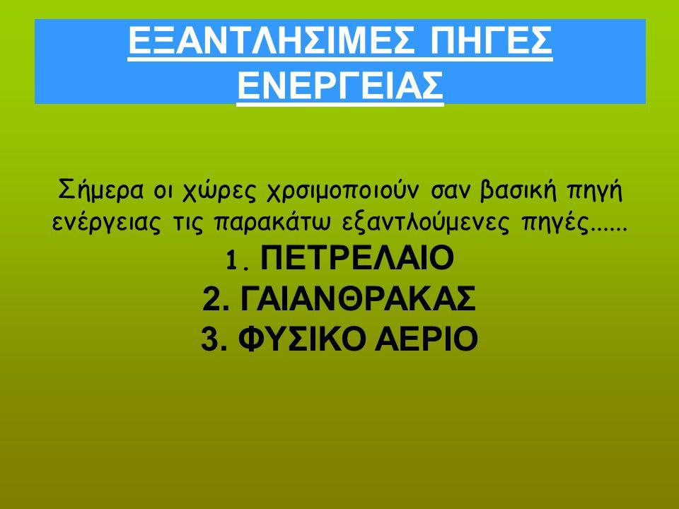 ΕΞΑΝΤΛΗΣΙΜΕΣ ΠΗΓΕΣ ΕΝΕΡΓΕΙΑΣ