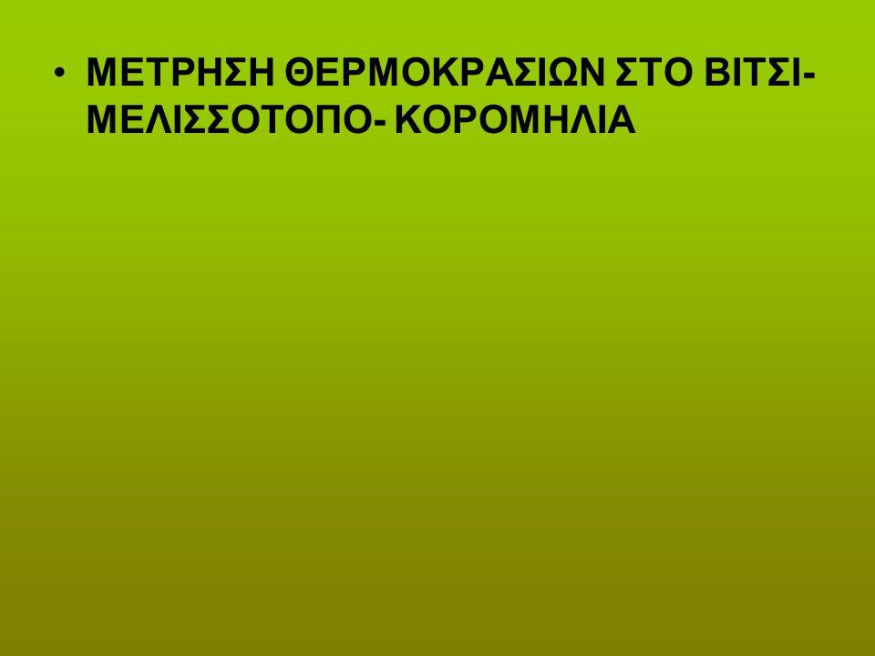ΜΕΤΡΗΣΗ ΘΕΡΜΟΚΡΑΣΙΩΝ ΣΤΟ ΒΙΤΣΙ-ΜΕΛΙΣΣΟΤΟΠΟ- ΚΟΡΟΜΗΛΙΑ