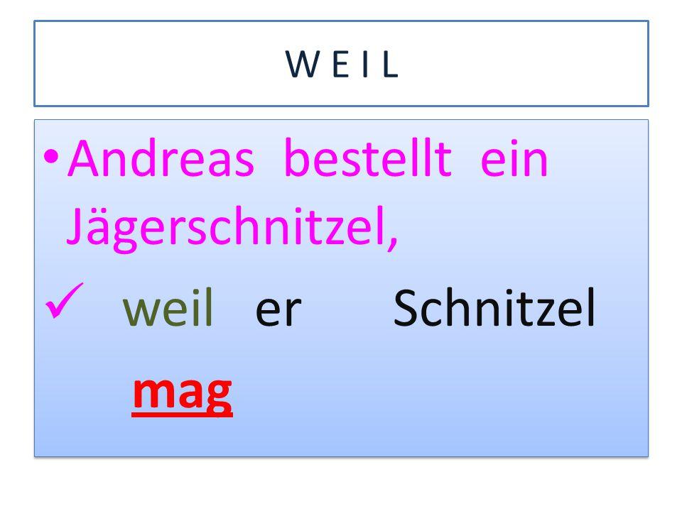 Andreas bestellt ein Jägerschnitzel, weil er Schnitzel mag