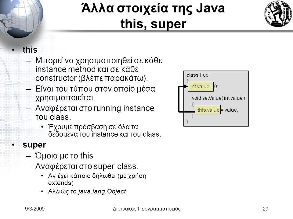 Άλλα στοιχεία της Java this, super