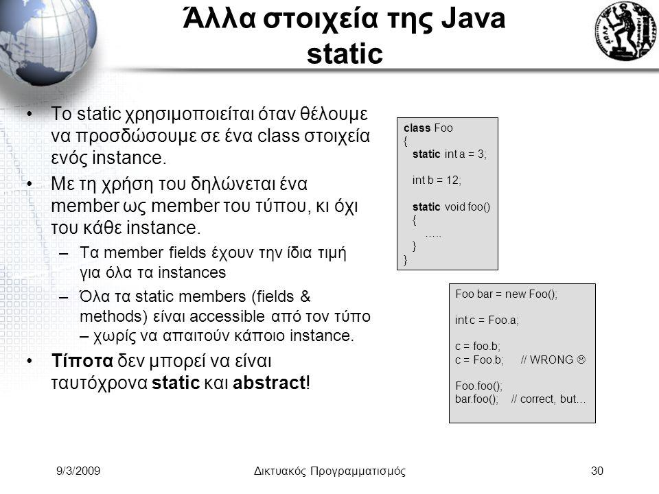 Άλλα στοιχεία της Java static