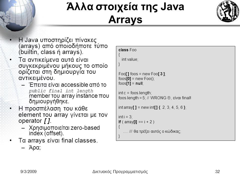 Άλλα στοιχεία της Java Arrays
