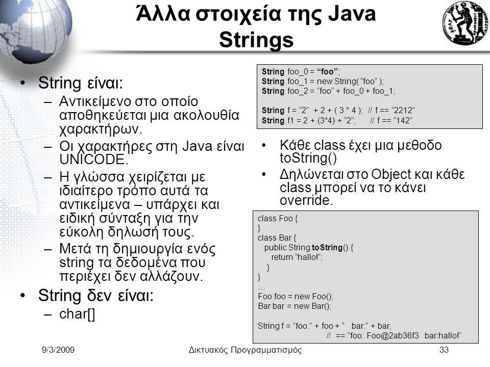 Άλλα στοιχεία της Java Strings