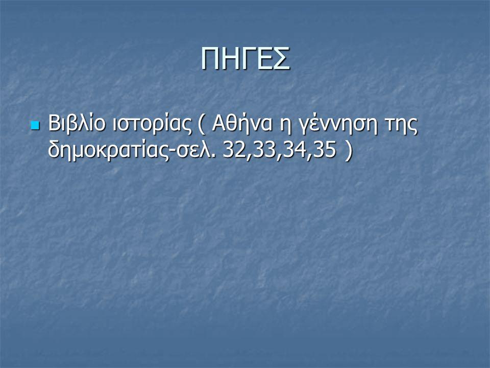ΠΗΓΕΣ Βιβλίο ιστορίας ( Αθήνα η γέννηση της δημοκρατίας-σελ. 32,33,34,35 )