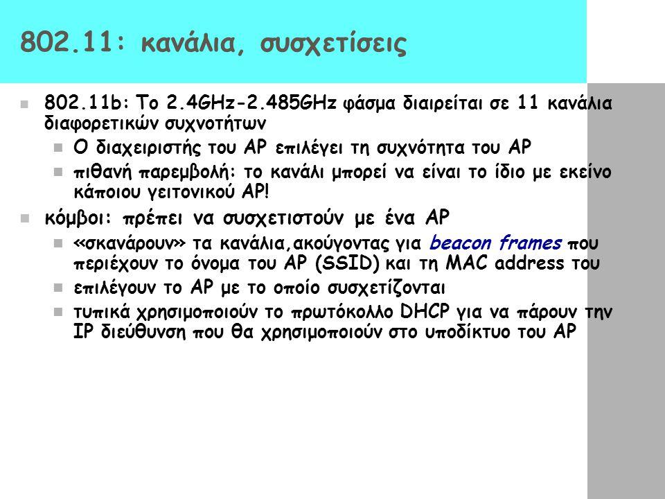 802.11: κανάλια, συσχετίσεις κόμβοι: πρέπει να συσχετιστούν με ένα AP