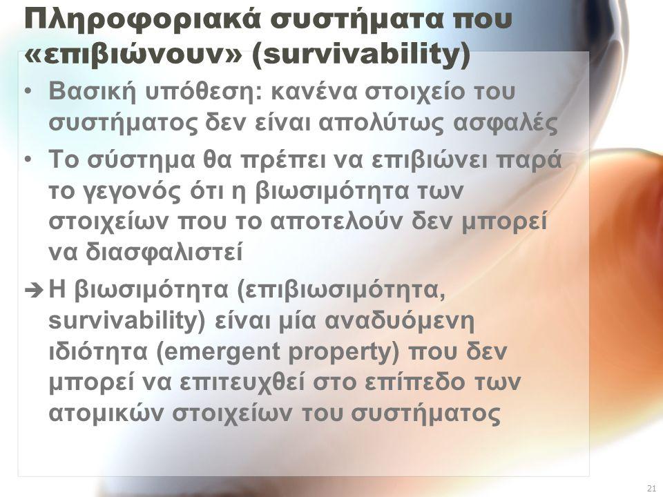 Πληροφοριακά συστήματα που «επιβιώνουν» (survivability)