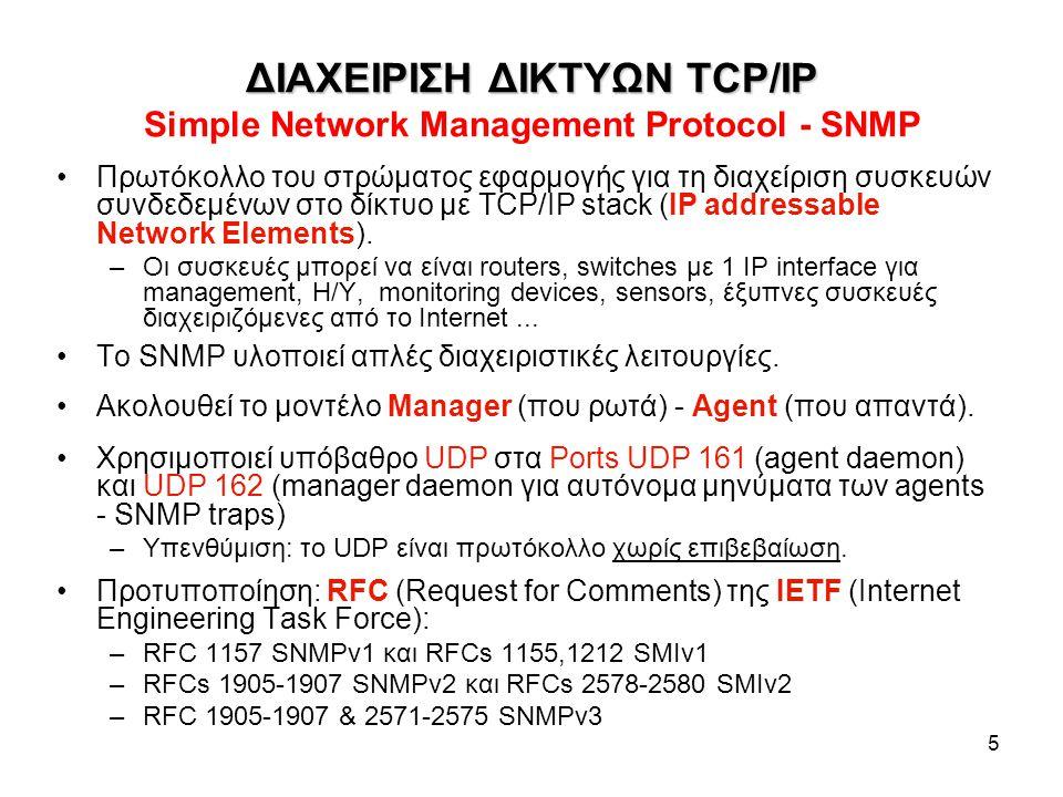 ΔΙΑΧΕΙΡΙΣΗ ΔΙΚΤΥΩΝ TCP/IP Simple Network Management Protocol - SNMP
