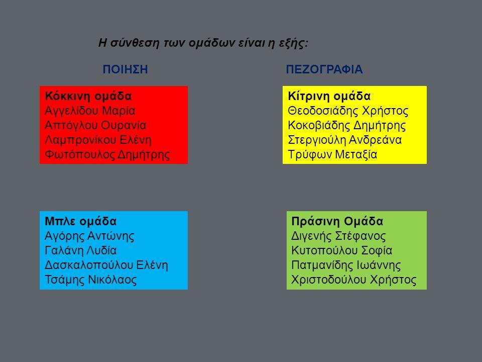Η σύνθεση των ομάδων είναι η εξής: