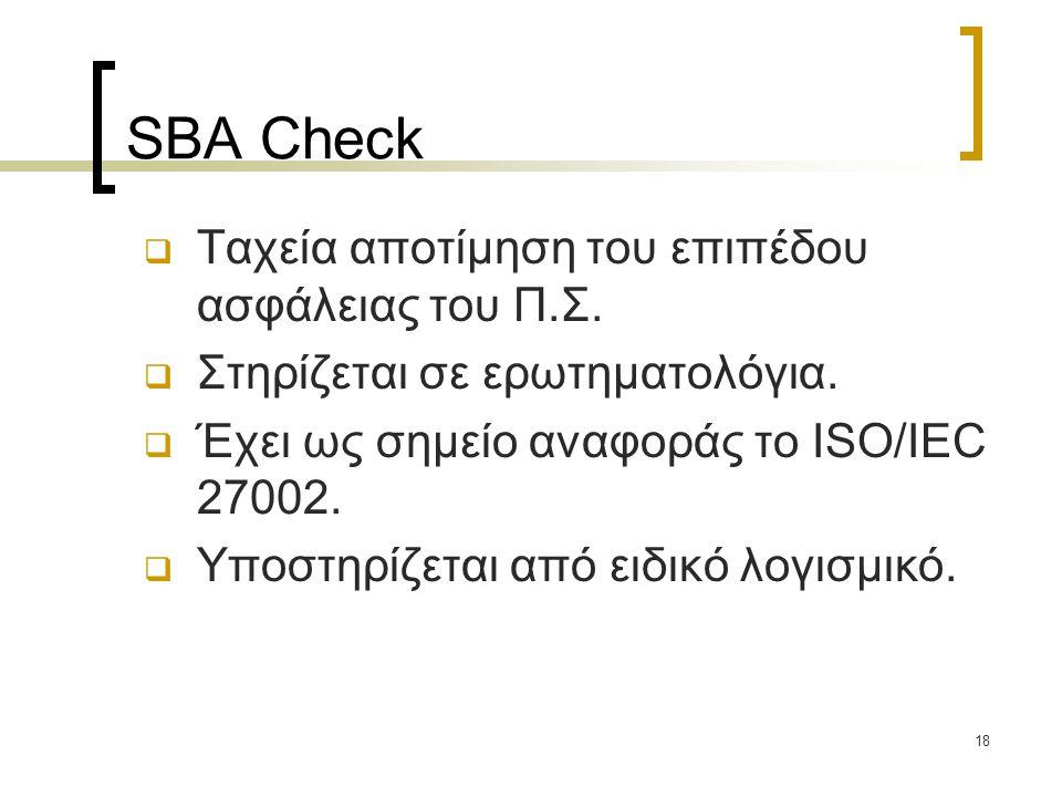 SBA Check Ταχεία αποτίμηση του επιπέδου ασφάλειας του Π.Σ.