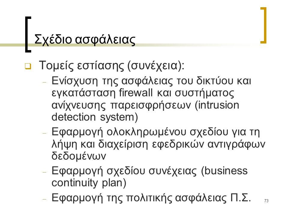 Σχέδιο ασφάλειας Τομείς εστίασης (συνέχεια):