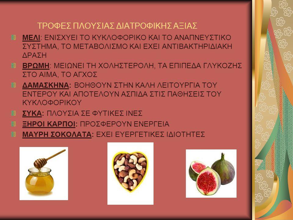 ΤΡΟΦΕΣ ΠΛΟΥΣΙΑΣ ΔΙΑΤΡΟΦΙΚΗΣ ΑΞΙΑΣ