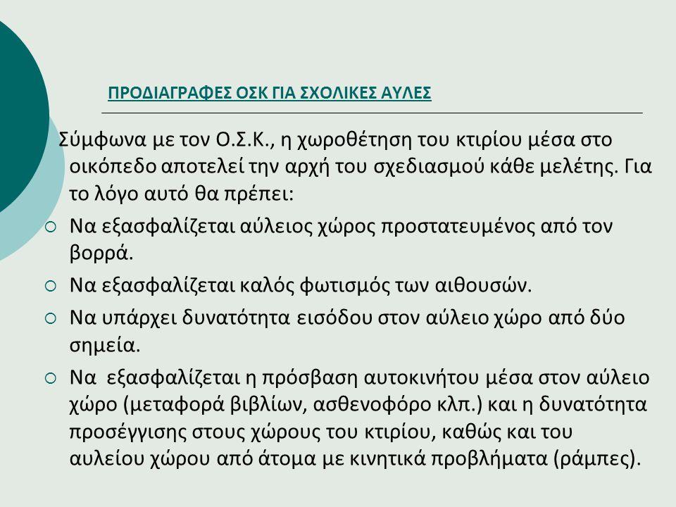 ΠΡΟΔΙΑΓΡΑΦΕΣ ΟΣΚ ΓΙΑ ΣΧΟΛΙΚΕΣ ΑΥΛΕΣ