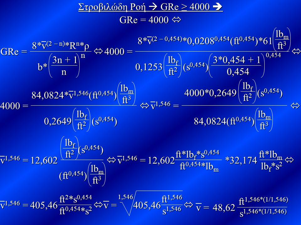 Στροβιλώδη Ροή  GRe ≥ 4000  GRe = 4000   4000 =