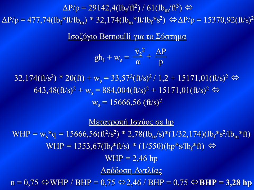 ΔΡ/ρ = 29142,4(lbf/ft2) / 61(lbm/ft3) 