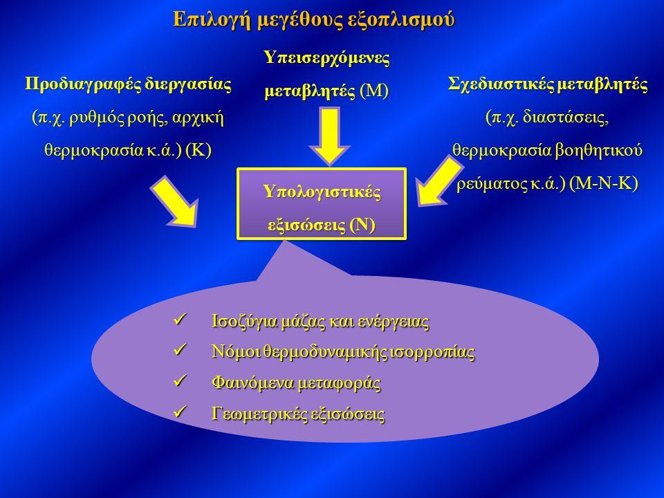Επιλογή μεγέθους εξοπλισμού Υπολογιστικές εξισώσεις (Ν)