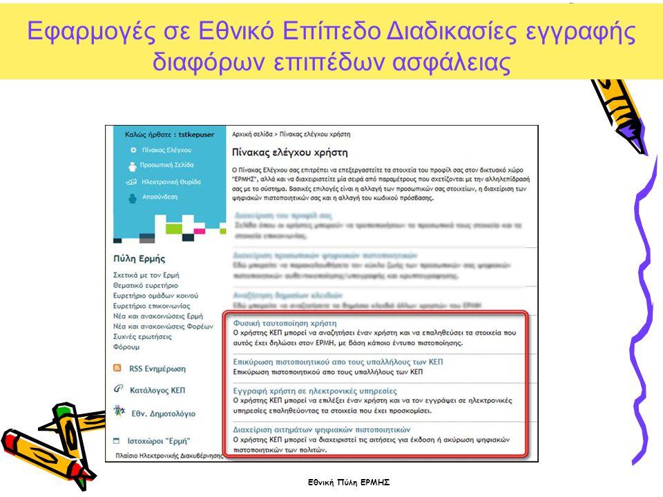 Εφαρμογές σε Εθνικό Επίπεδο Διαδικασίες εγγραφής διαφόρων επιπέδων ασφάλειας