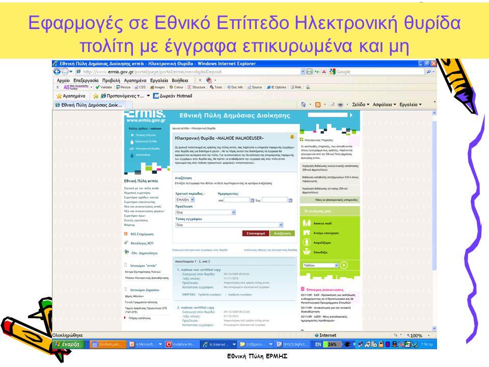 Εφαρμογές σε Εθνικό Επίπεδο Ηλεκτρονική θυρίδα πολίτη με έγγραφα επικυρωμένα και μη