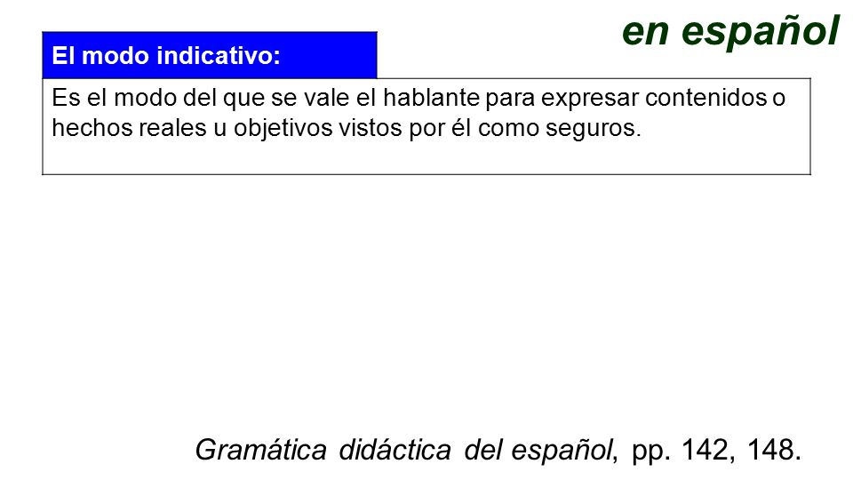 en español Gramática didáctica del español, pp. 142, 148.