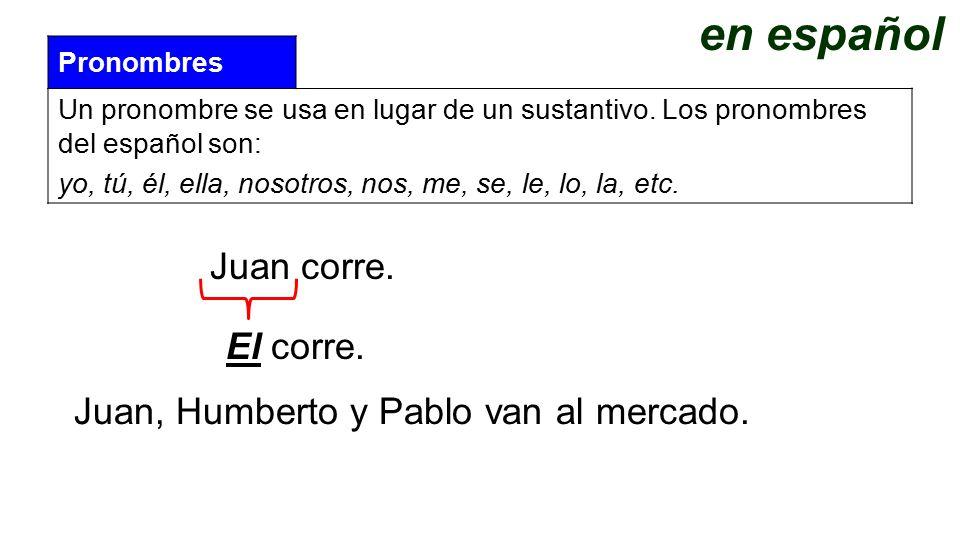 en español Juan corre. El corre.
