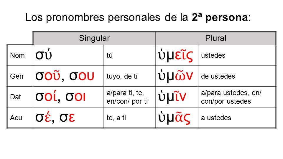 Los pronombres personales de la 2ª persona: