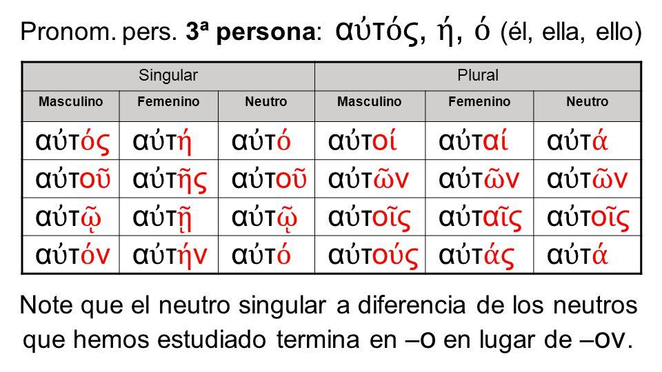 Pronom. pers. 3ª persona: αὐτός, ή, ό (él, ella, ello)