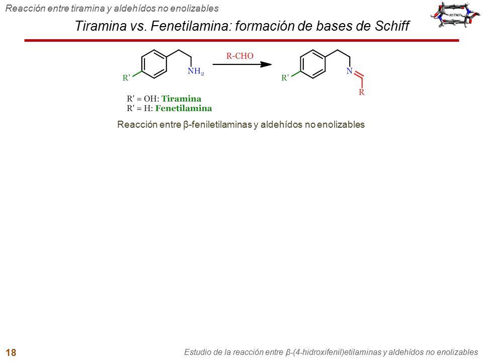 Tiramina vs. Fenetilamina: formación de bases de Schiff