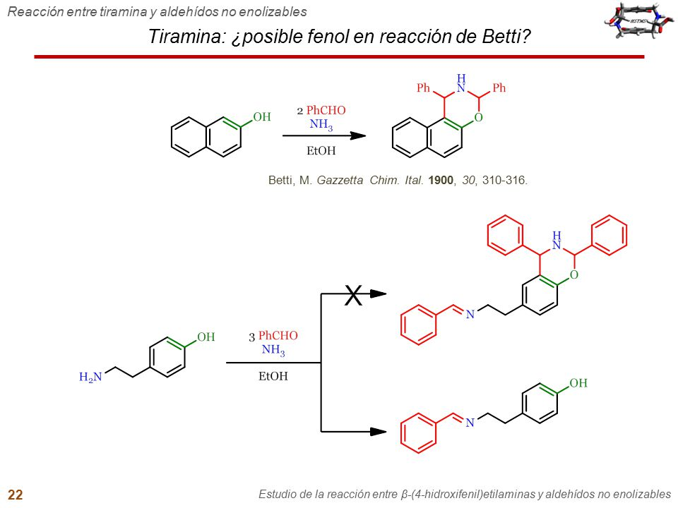 Tiramina: ¿posible fenol en reacción de Betti