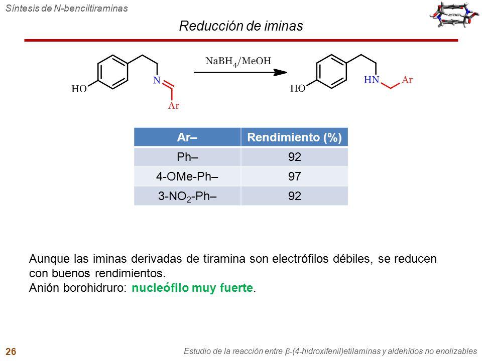 Reducción de iminas Ar– Rendimiento (%) Ph– 92 4-OMe-Ph– 97 3-NO2-Ph–
