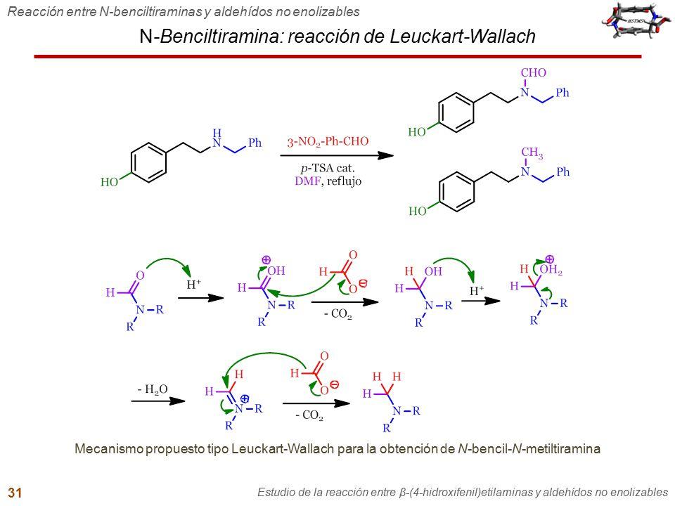 N-Benciltiramina: reacción de Leuckart-Wallach