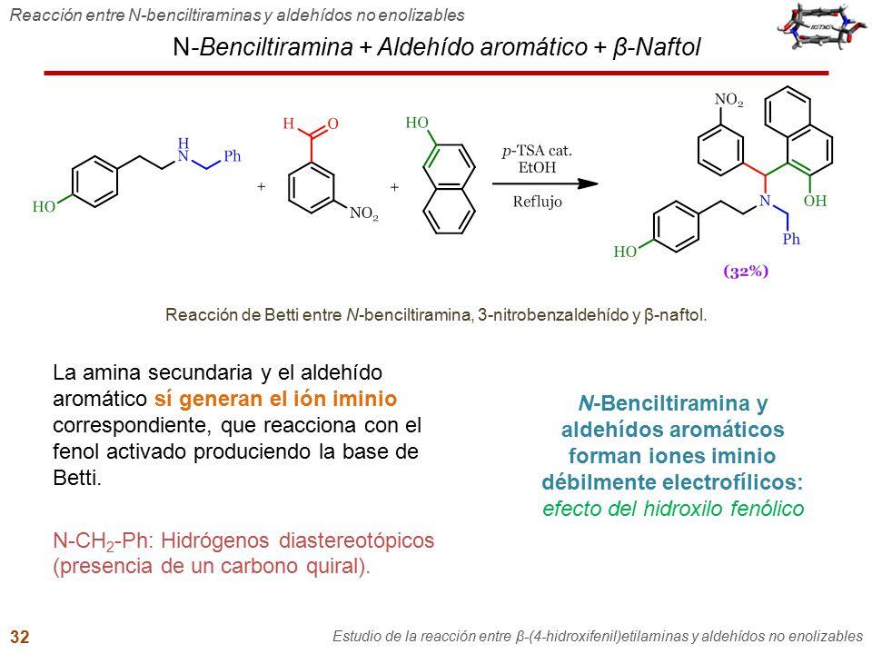 N-Benciltiramina + Aldehído aromático + β-Naftol