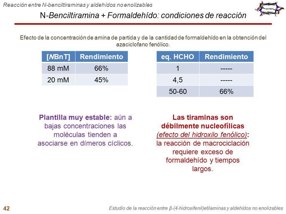 N-Benciltiramina + Formaldehído: condiciones de reacción