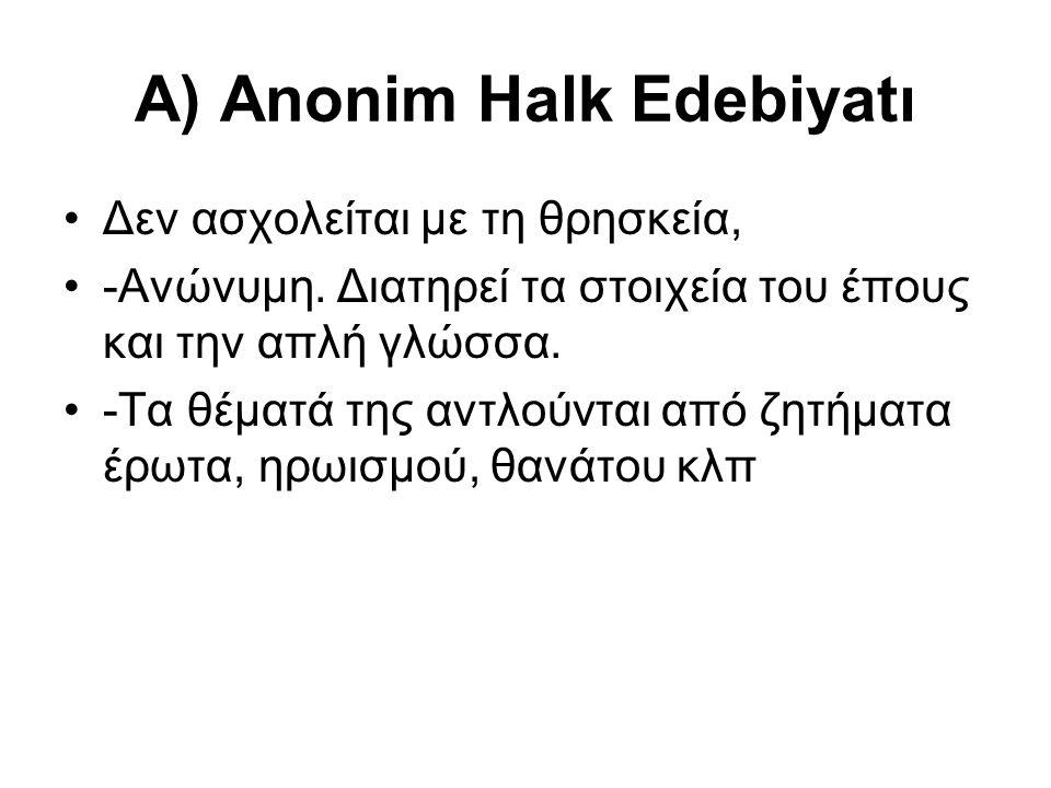 Α) Anonim Halk Edebiyatı