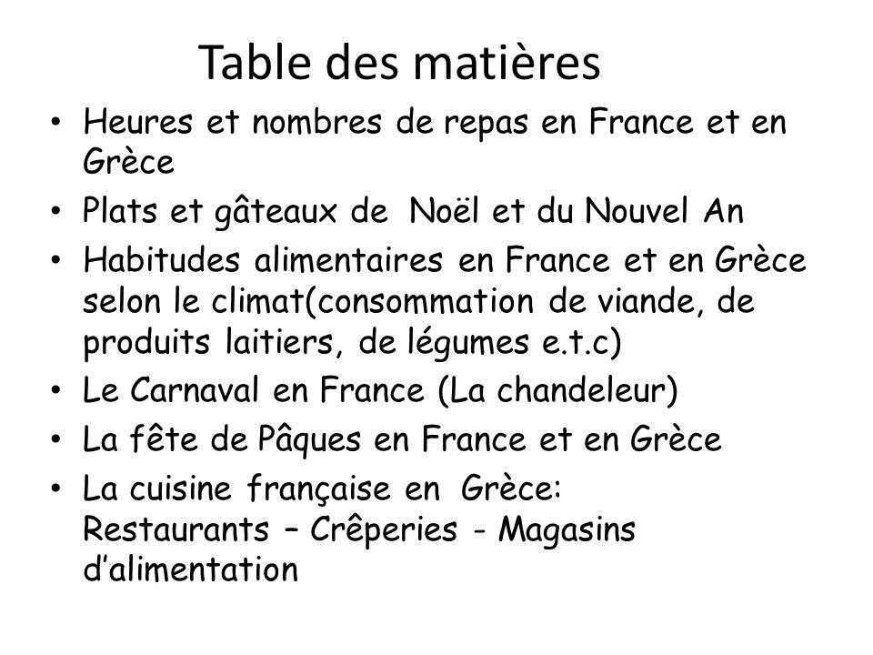 Table des matières Heures et nombres de repas en France et en Grèce