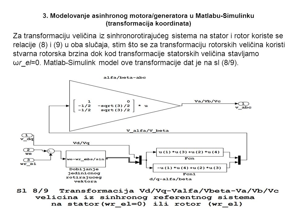 3. Modelovanje asinhronog motora/generatora u Matlabu-Simulinku (transformacija koordinata)