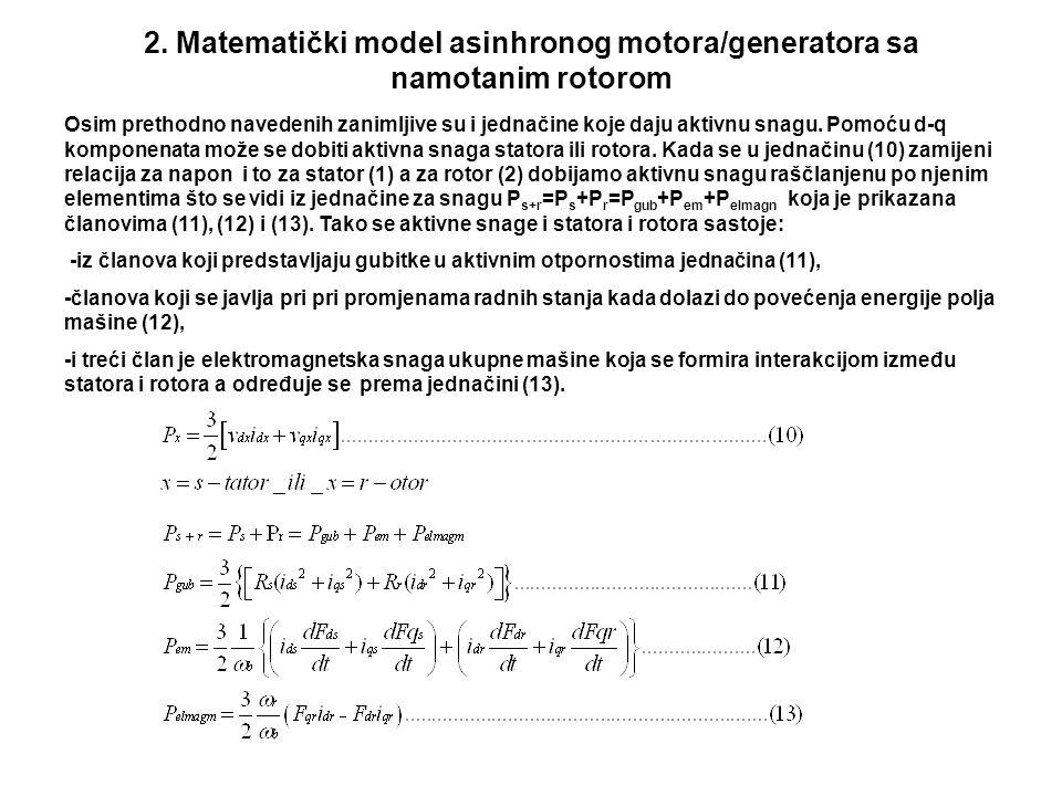 2. Matematički model asinhronog motora/generatora sa namotanim rotorom