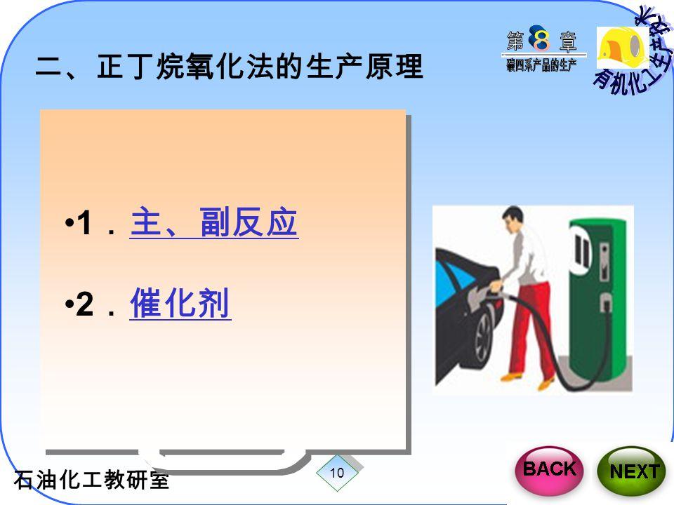 二、正丁烷氧化法的生产原理 1.主、副反应 2.催化剂