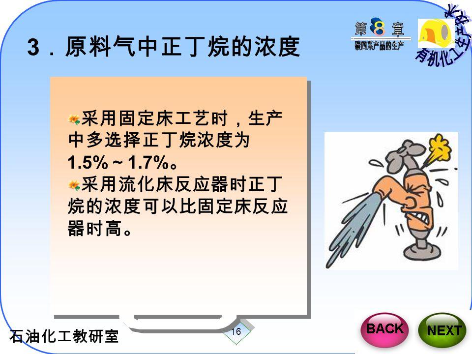3.原料气中正丁烷的浓度 采用固定床工艺时,生产中多选择正丁烷浓度为1.5%~1.7%。