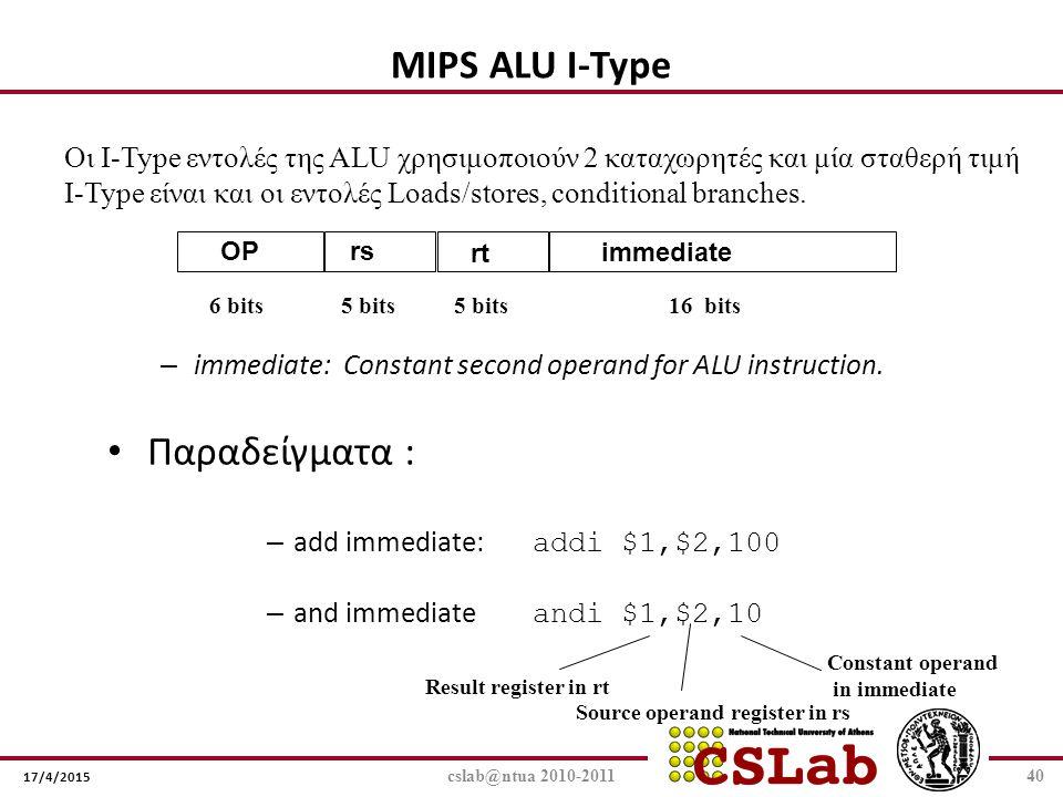 MIPS ALU I-Type Παραδείγματα :