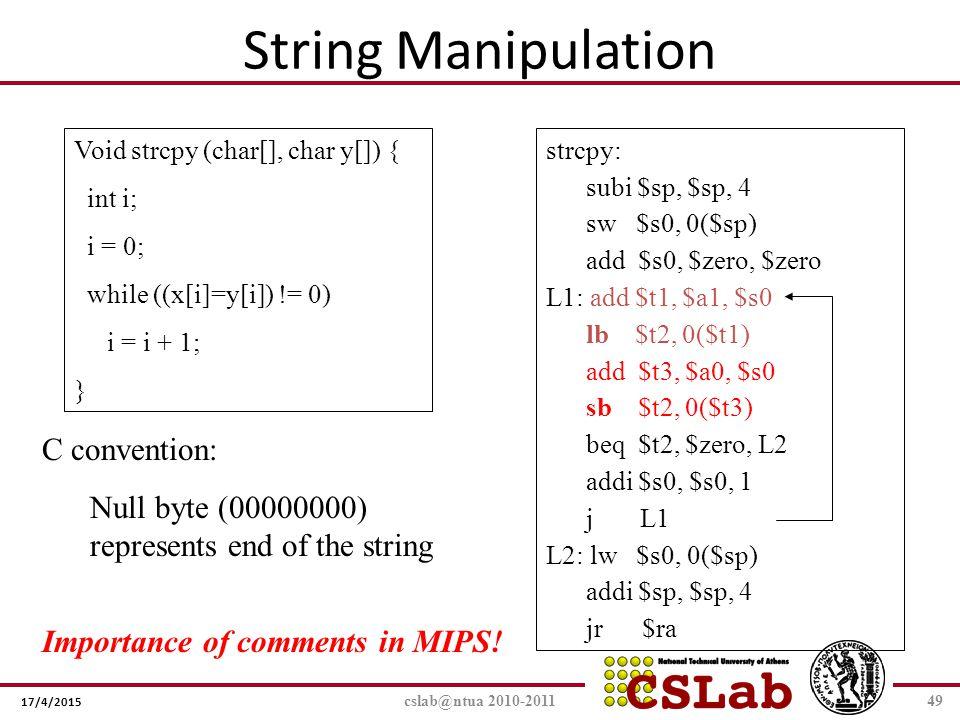 String Manipulation C convention: