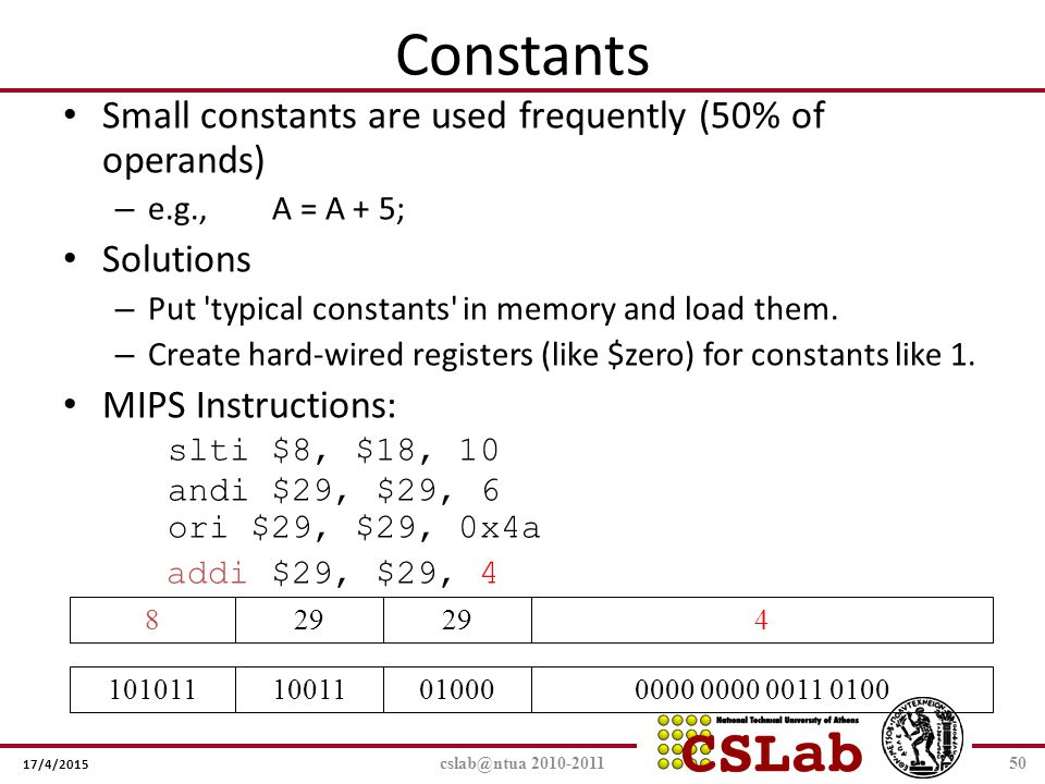 Constants Small constants are used frequently (50% of operands)