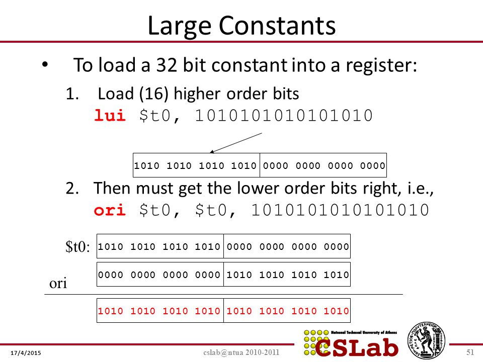 Large Constants To load a 32 bit constant into a register: