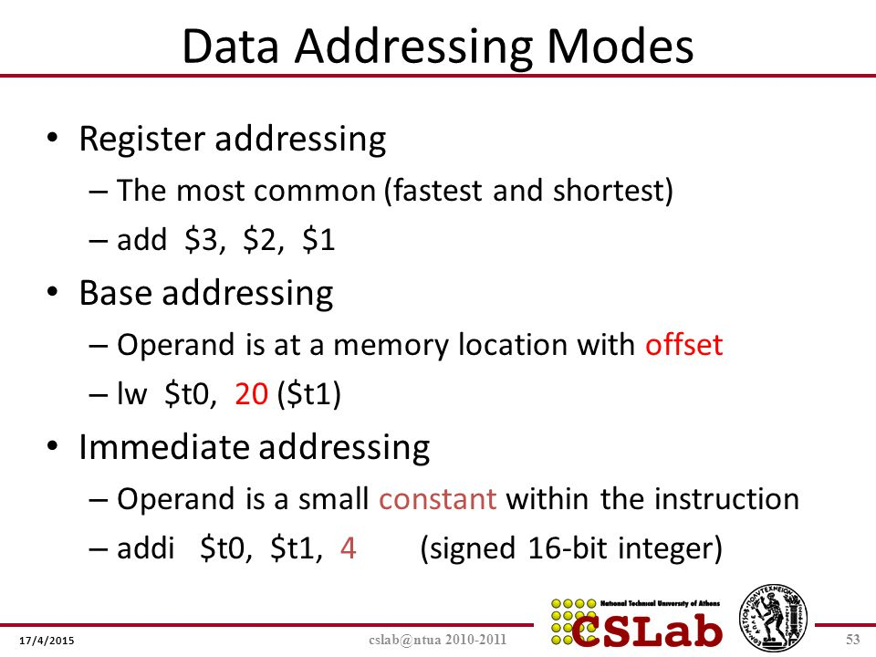 Data Addressing Modes Register addressing Base addressing