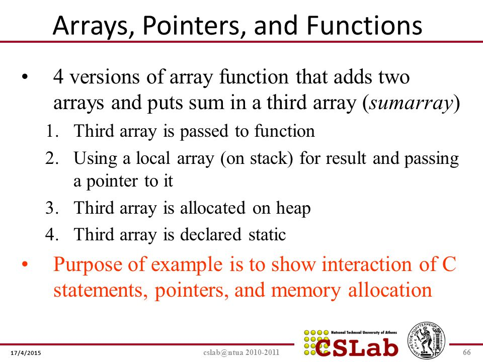 Arrays, Pointers, and Functions