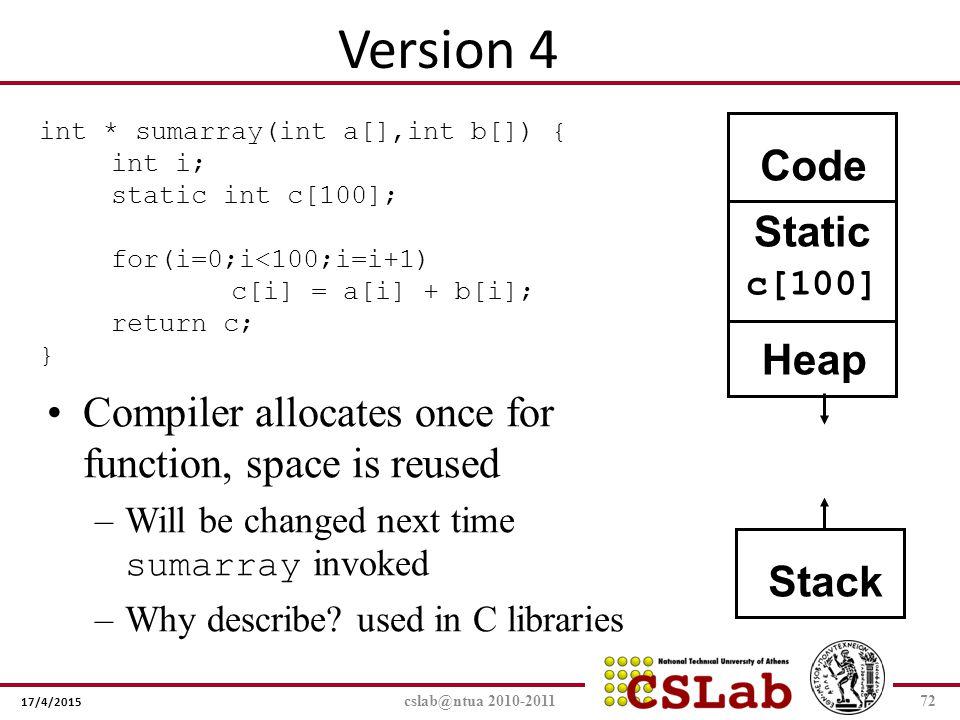 Version 4 Code Static Heap